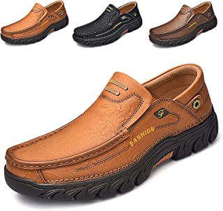 alcubieree Breathable Men's Shoes Leather Casual Comfortable Slip On Walking Loafers Driving Handmade Waterproof Sneakers ...