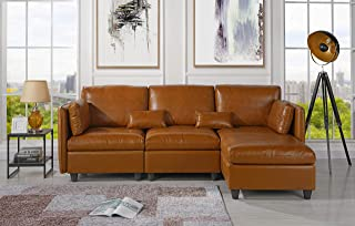 L-Shape Living Room Leather Match Sectional Sofa, Right Facing Chaise Lounge (Brown)