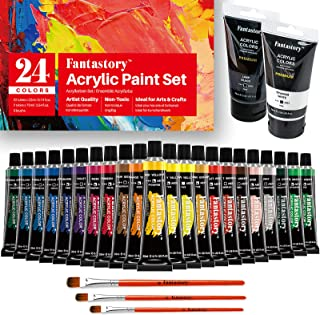 Acrylic Paint Set, Fantastory 24 Colors (0.74 oz/22 ml & 2 x 2.64 oz/75 ml) Crafts Art Supplies, Non Fading, Non Toxic Bla...