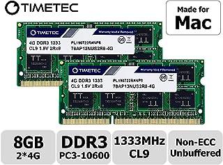 Timetec Hynix IC compatible with Apple 8GB Kit (2x4GB) DDR3 1333MHz PC3-10600 SODIMM Memory Upgrade For MacBook Pro/iMac/Mac mini