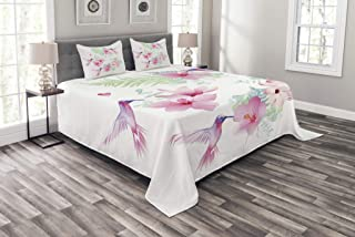 Ambesonne Hummingbirds Bedspread, Tropical Flowers with Flying Hummingbirds Wild Nature Blooms, Decorative Quilted 3 Piece Coverlet Set with 2 Pillow Shams, King Size, Pink Purple