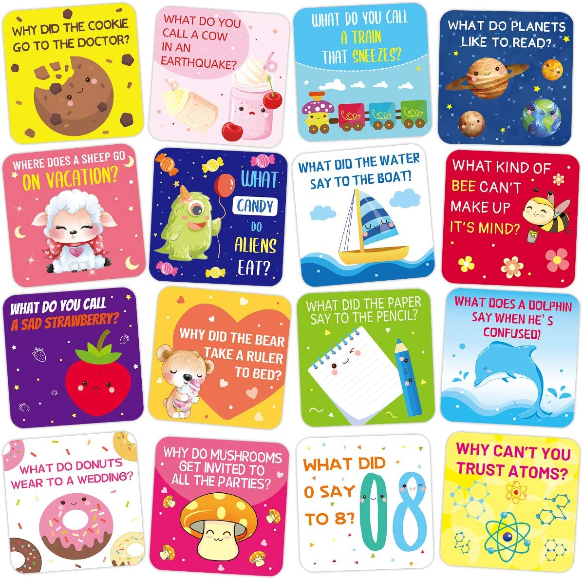 60 Lunch Box Jokes for Kids - Example of some of the cards