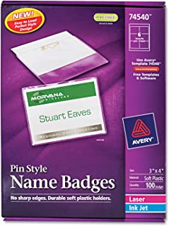 Avery 74540 Name Badge Kit,Easy Pkt,Pin,Top Load,3-Inch x4-Inch,100/BX,WE