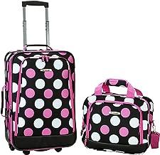 Rockland Fashion Softside Upright Luggage Set, Multi/Pink Dot, 2-Piece (14/20)