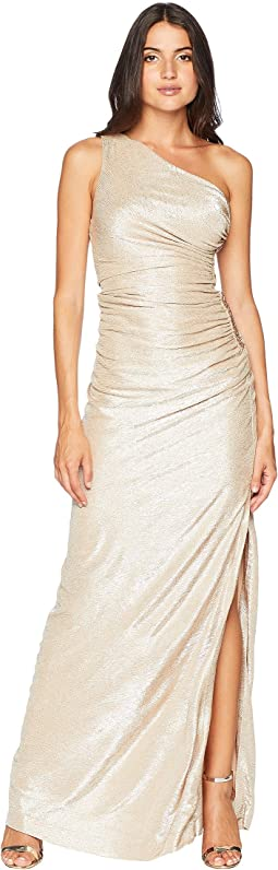 One Shoulder Metallic Ruched Gown CD8B2P7G