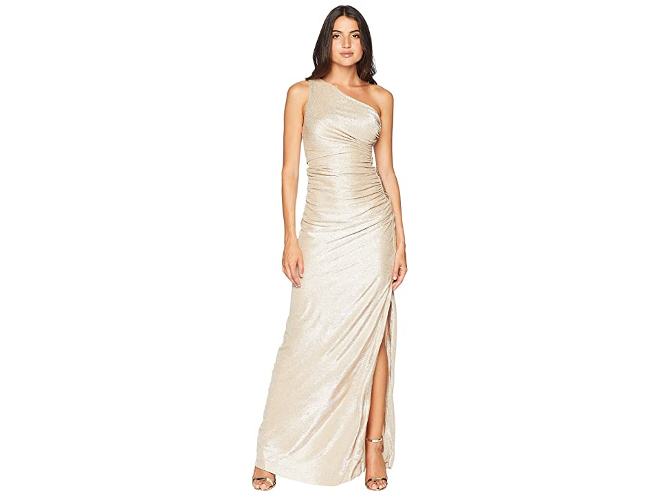 Calvin Klein One Shoulder Metallic Ruched Gown CD8B2P7G (Buff/Silver) Women