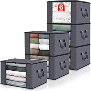 Fab totes 6-Pack Clothes Storage, Foldable Blanket Storage Bags, Storage Containers for Organizing Bedroom, Closet, Clothi...