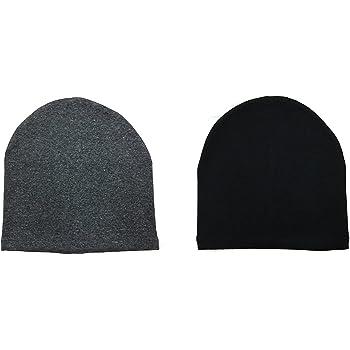 Gajraj WV01RCA08099 Cotton Helmet Cap (Black and Grey, Pack of 2)