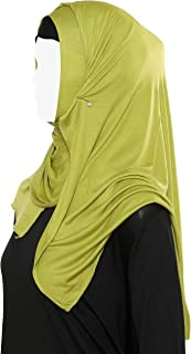 "Muslim Cotton Hijab Jersey - 2pcs High Stretch Muslim Headwarps Soft Hijab Scarf for Women I (Scarf+Undercap), 70"" x 21.5"""