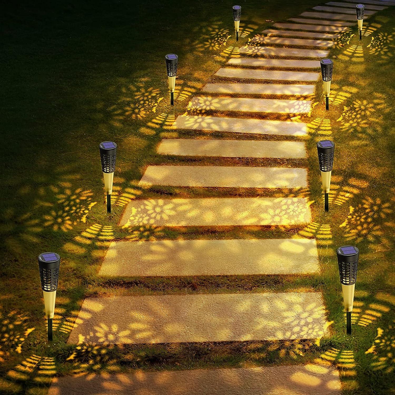 8 Packs Solar Pathway Lights Outdoor, Bright Solar Garden Lights Decorative,Waterproof Solar Powered Lights, Auto On/Off Solar LED Landscape Lighting for Walkway Pathway Patio Yard - Warm White