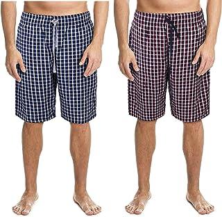 2 Pack Men's Lounge Wear Shorts Nightwear Super Soft Comfy Cotton Pyjama Bottoms