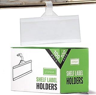 PLANQUE Professional Label Holder, Shelf Labels Holder w Easy Clip Design Snap Lock Closure, Label Holders for Wire Shelve...