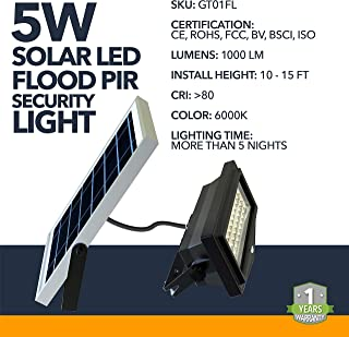 High Powered Solar Powered Flood Lights - 1000 Lumens, LI-ION Battery 8000mAh 3.7V - Solar Flood Adjustable Security Lighting - Commercial or Residential Adjustable Mount LED Flood Lights - IP65 Rated