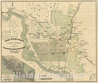 Historic Map - Map of the Yaqui River Valley, Sonora, Mexico, 1910 - Vintage Wall Art - 44in x 38in