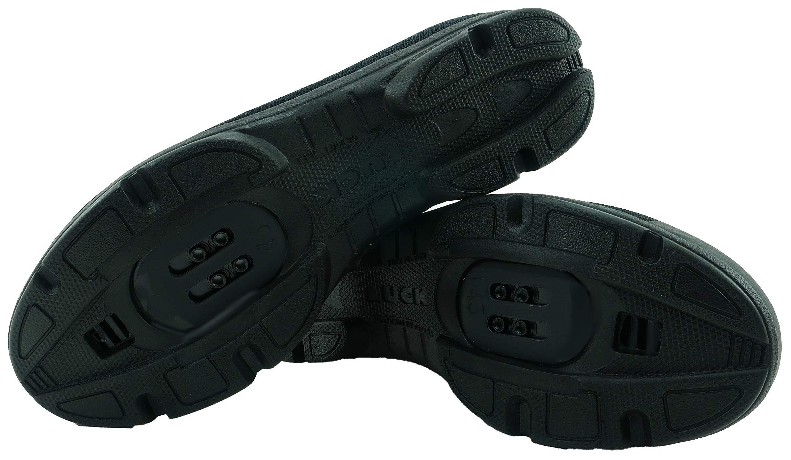 LUCK Zapatillas de Ciclismo Jupiter, Ideal para la práctica de Distintas disciplinas Gracias a su Suela de EVA, construida en una Sola Pieza de Micro Fibras súper Transpirables. (42 EU, Negro): Amazon.es: