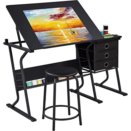 YAHEETECH Adjustable Drafting Table Drawing/Draft/Art/Craft Desk with Stool and Storage Drawers Art Studio Design Sketching Painting Work Station