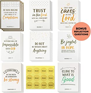 Dessie 56 Pack Inspirational Bible Verse Cards with Envelopes | 8 Unique Scripture Card Designs | Boxed Greeting Card Set with Blessed Stickers And Bonus Self-Reflection E-Journal