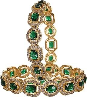 CZ Zirconia Gold Tone Green Diamond Elegant Bollywood Indian Bangles Jewelry Women