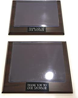 "Sponsor Appreciation Plaque 9"" X 7"" with Slip in Photo Pocket 7"" X 5"" and Engraved Stock Plate Thank You to Our Sponsor Set of Two - Useful for Baseball, Football, Soccer or Any Sports or Group"