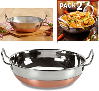 Stainless Still Kadhai with Copper Bottom/ Pure Copper Bottom/ Indian Kitchenware Accessories / Kitchen Accessories Cooking Kadhai with Copper Bottom/ Kadhai / kadai for Frying Purpose(2)