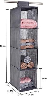 Amazon Brand - Solimo Fabric Hanging Shelf Organiser, Grey