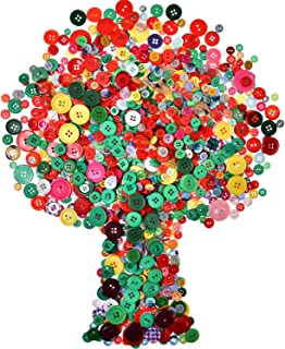 Bememo 1000 Pieces Colorful Buttons Sewing Resin Button Round Craft Buttons, 4 and 2 Holes, Assorted Sizes