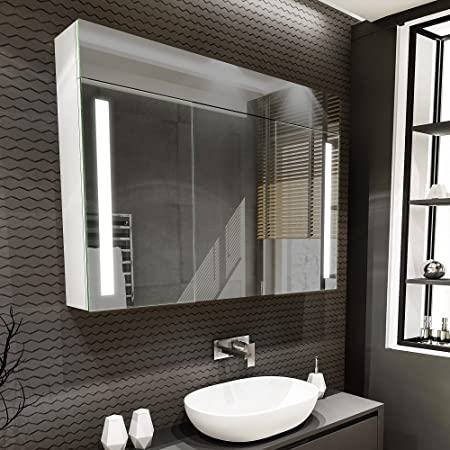 Artforma Armoire pour de Salle de Bain avec Miroir et Éclairage LED avec 3-Porte (100x72x16,6 cm) | 17 décors au Choix | Murale