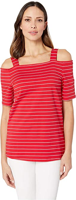 Mini French Terry Stripe Off Shoulder Top with Straps