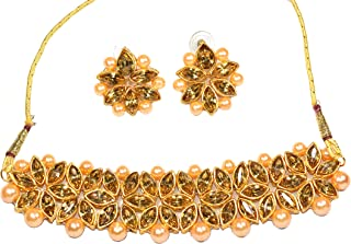 Frolics India Brass Golden Stones and Pearl Choker Set with Earrings and Mangtika for Women