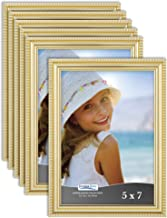 Icona Bay 5x7 Picture Frames (6 Pack, Gold) Black Picture Frame Set, Wall Mount or Table Top, Set of 6 Inspirations Collec...