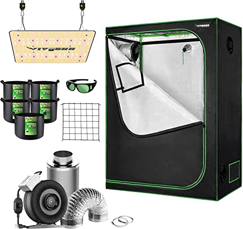 """discount VIVOSUN 48""""x24""""x60"""" Mylar Hydroponic Grow Tent Complete discount Kit with 4 Inch 203 CFM outlet sale Inline Fan Package, VS1000 LED Grow Light, Glasses, Grow Bags, Trellis Netting online sale"""
