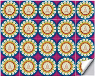 YOLIYANA Yoga Strong Adhesion Ceramic Tile Stickers 20 Pieces,Yogi in The Lotus Posture and Exercises in Several Positions Surya Namaskar Vitality for Living Room Kitchen,One Size