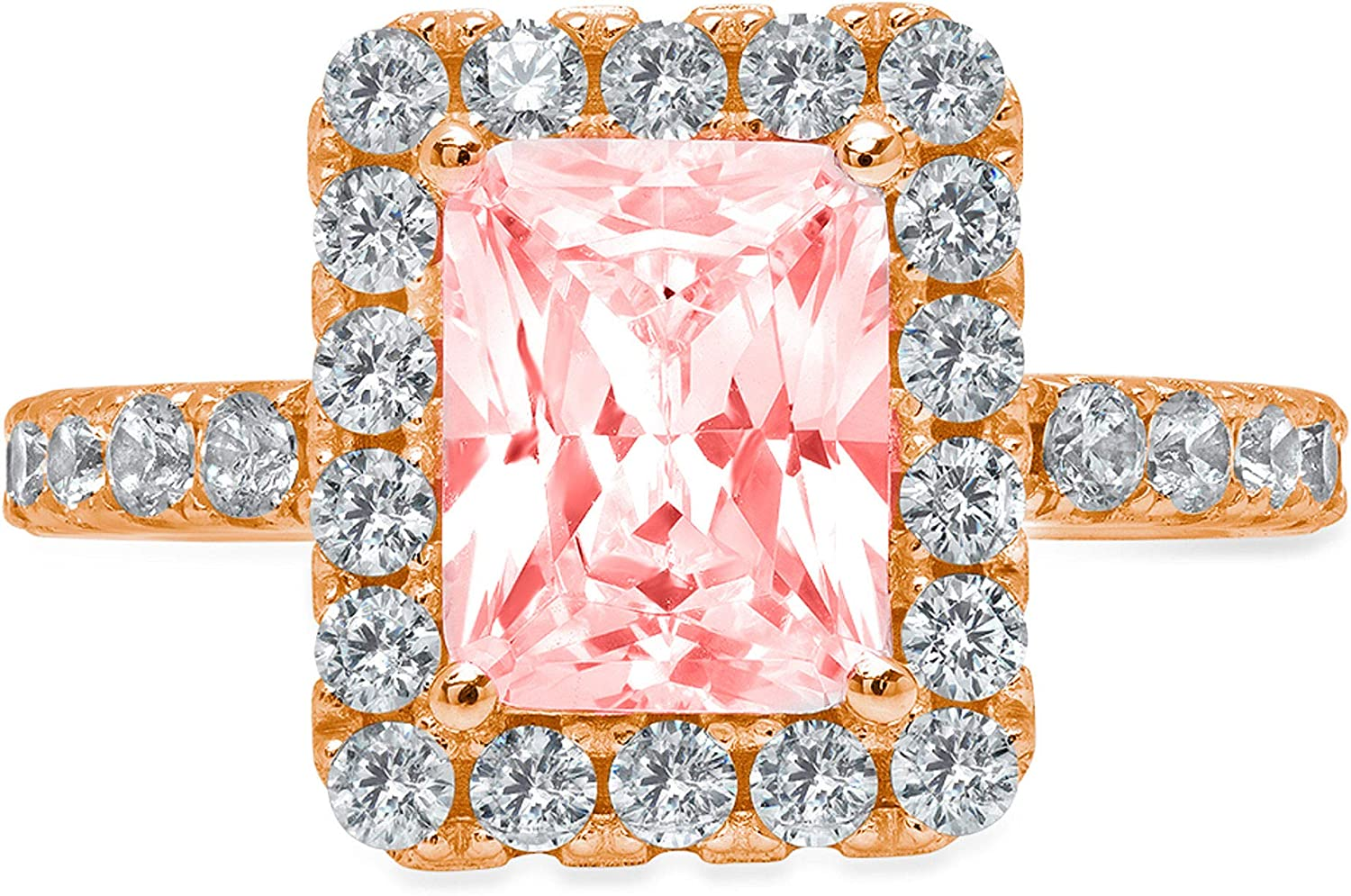 3.84ct Brilliant Emerald Cut Solitaire with Accent Halo Pink Ideal VVS1 Simulated Diamond CZ Engagement Promise Statement Anniversary Bridal Wedding Ring 14k Rose Gold