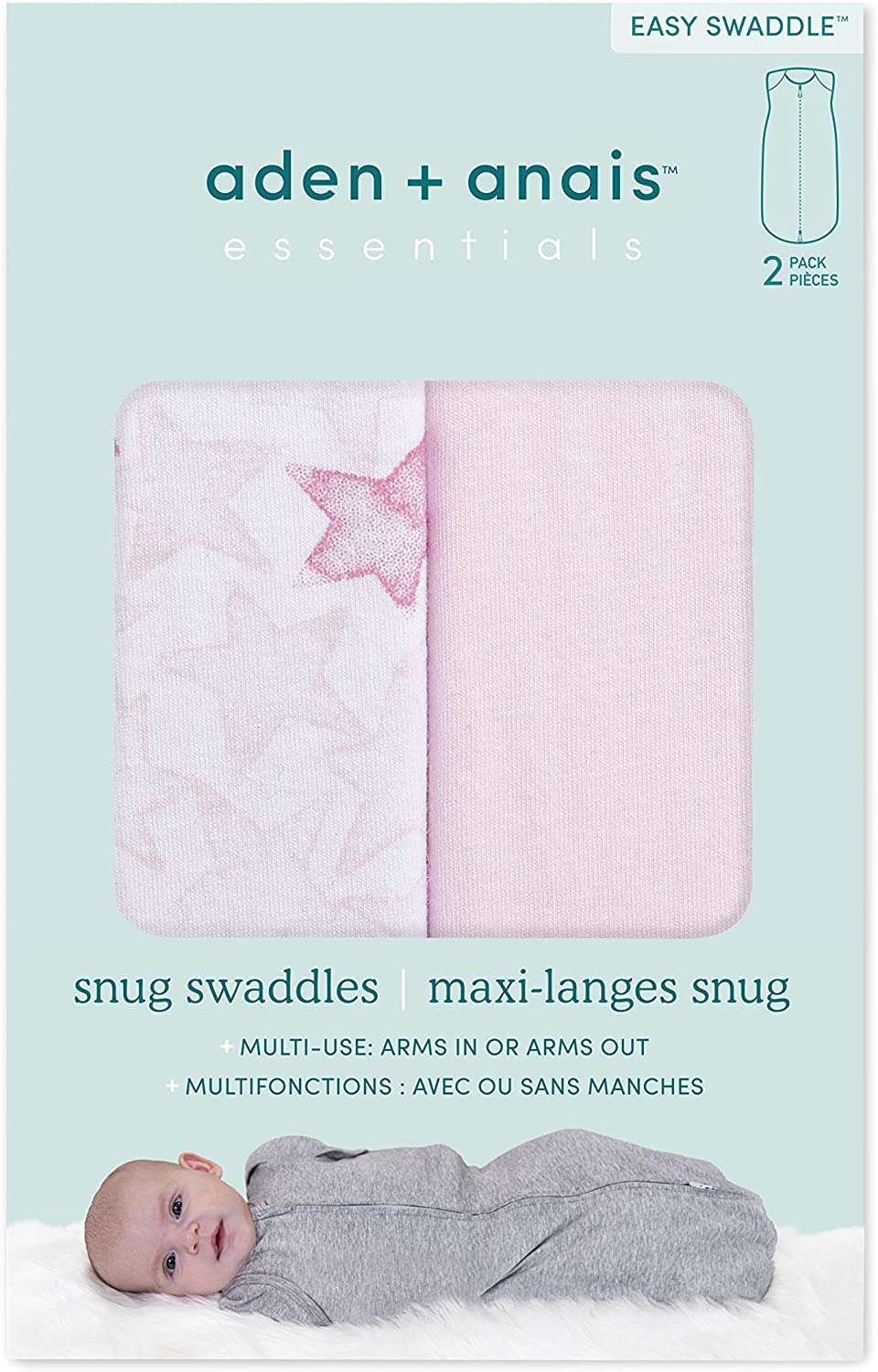 0-3 Months Newborn Anais Essentials Easy Snug Swaddle Savanna Spots 2 Pack Transitions to Arms-Free Wearable Sleeping Bag Aden