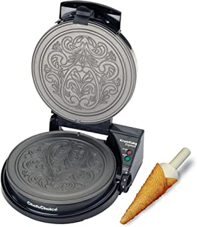 Chef'sChoice 839 KrumKake Express Krumkake Cookie Maker with Color Select Quick Baking Instant Temperature Recovery Fast Bake Easy to Clean with Overflow Channel Includes Cone Roller, Black