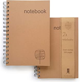 Le Vent Set of 2 Spiral Notebooks Lined and Dot Grid, 200 Pages Lay Flat, A5 8x5 Inches, Craft and Cream Thick Paper for Writing, Planning and Journal Refill