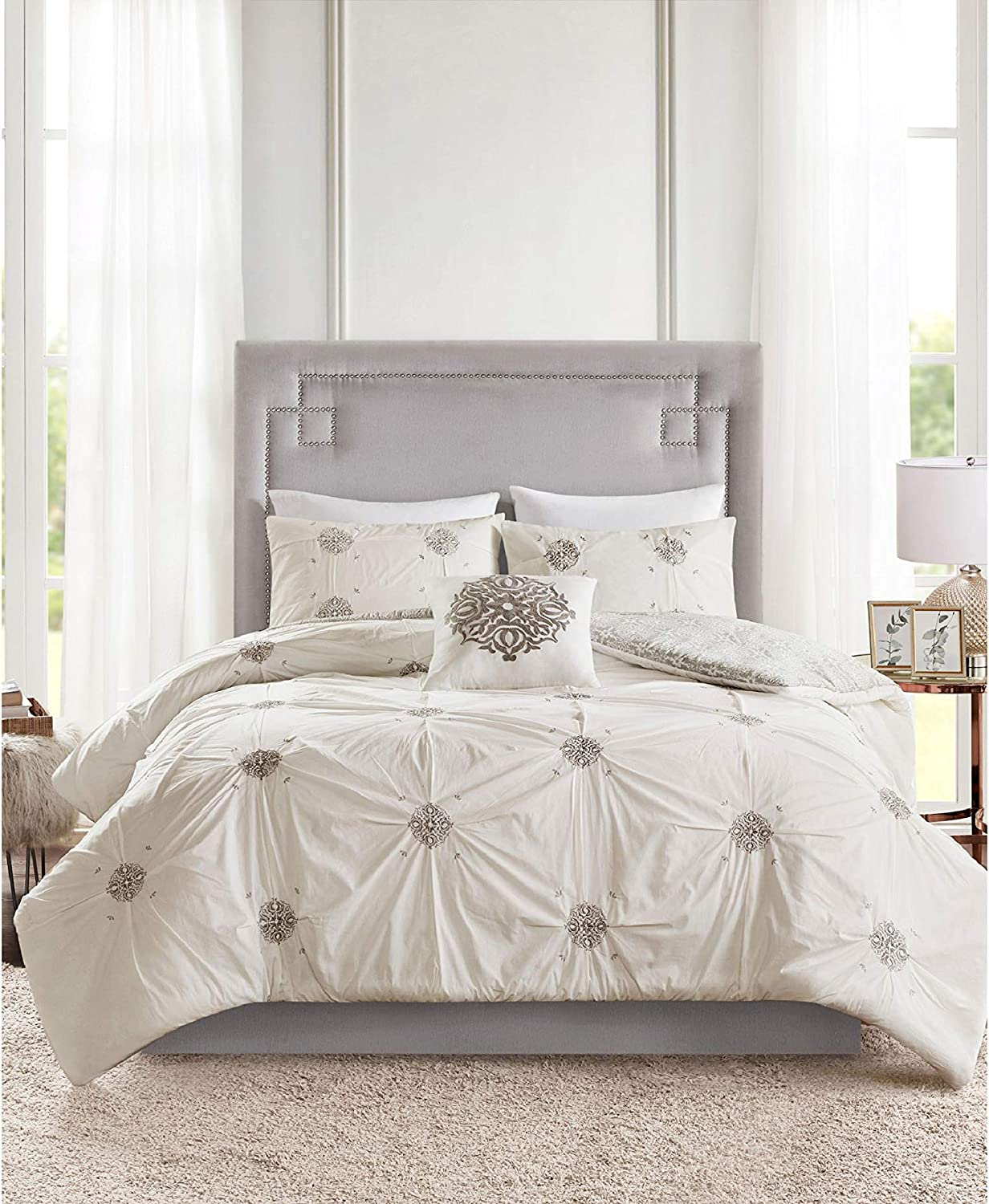 Malia 4 Piece Embroidered Selling Genuine Free Shipping Cotton Duvet Grey Cover Reversible Set