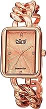 Burgi Women's Rectangle Diamond Watch - Embossed Dial with Genuine Diamond Markers On Stainless Steel Link Bracelet - BUR100
