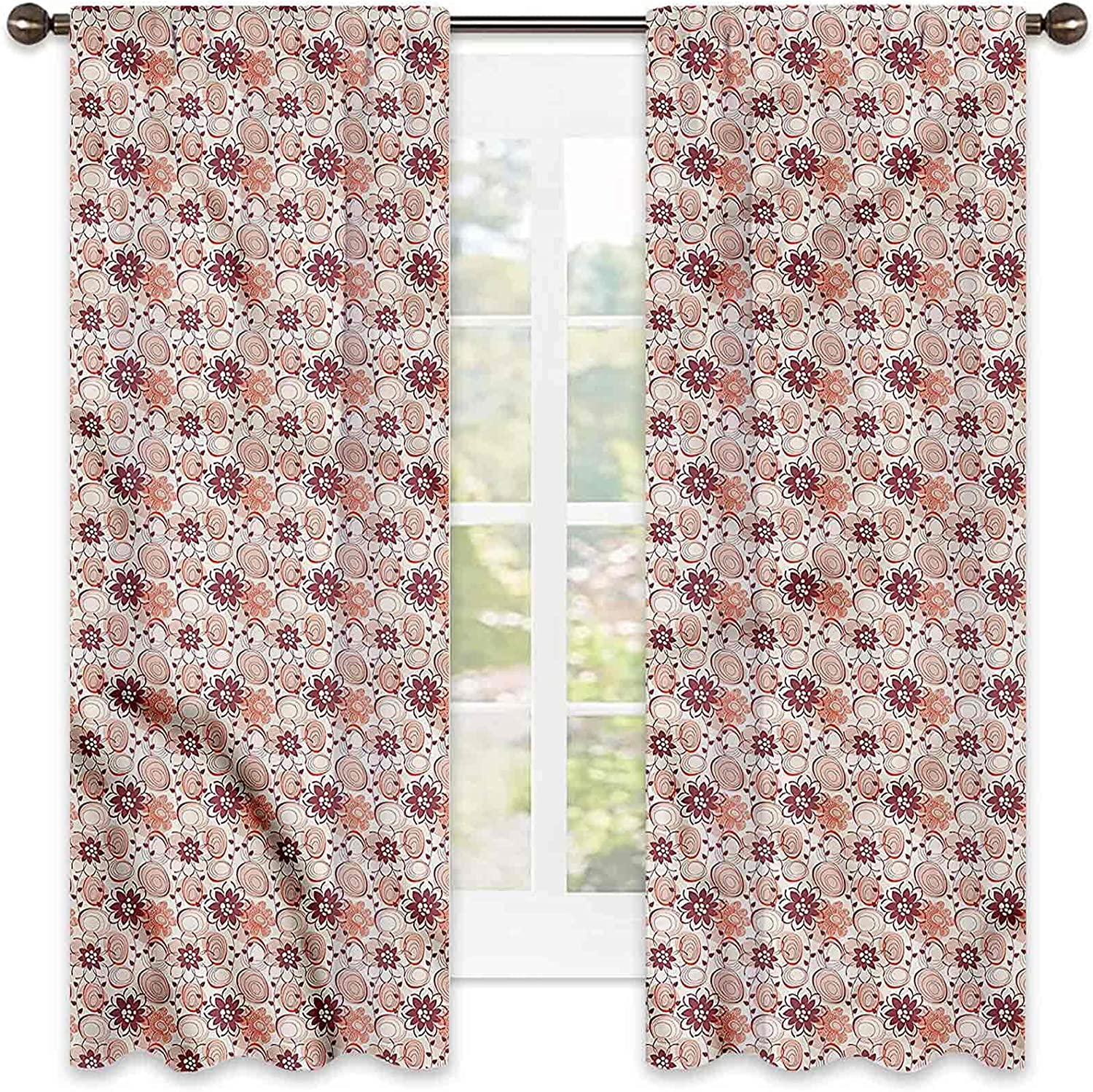 Floral 90% Blackout Curtains Abstract 2021 spring and summer new Set Translated Blooms of Tw Circles