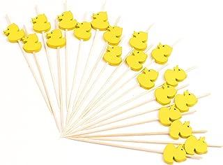 PuTwo Toothpicks 100 Counts Picks Handmade Natural Bamboo Cocktail Sticks, Yellow Ducks