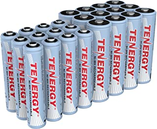 Tenergy High Drain AA and AAA Battery, 1.2V Rechargeable NiMH Batteries Combo, 12-Pack 2500mAh AA Cells and 12-Pack 1000mA...