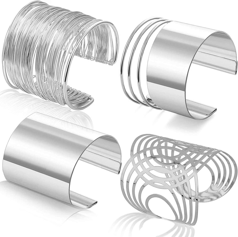 RIOSO 4 Pcs Cuff Bangle Bracelet for Women Open Wide Wire Bracelets Gold Wrist Cuff Wrap Bracelet