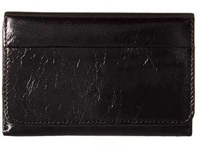 Hobo Jill Trifold Wallet (Black Vintage Leather) Clutch Handbags