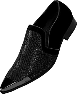 Bolano Rhinestone Crystal Stones Loafer Velvet Trimmed with Silver or Gold Reflective Metallic Tip Smoking Shoe, Style Dezzy, Runs Small Size 1/2 Size UP