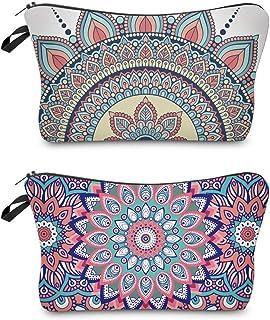 حقيبة مكياج مع زهور ماندالا، حقيبة مستحضرات التجميل مع منظم أدوات الزينة أثناء السفر، حقيبة مقاومة للماء للنساء والفتيات