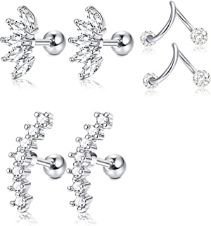 3 Pairs Stainless Steel Silver Ear Cartilage Earrings for Women Girls Tragus Helix Earring Cute Conch Flat Back Piercing Jewelry 16G