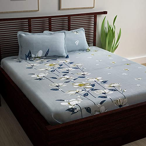 Story Home Floral Print 100 Combed Cotton Premium Style King Size Bedsheet with 2 Pillow Covers Grey and Blue