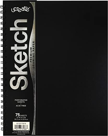 """Pacon UCreate Poly Cover Sketch Book, Heavyweight, 12"""" x 9"""", 75 Sheets"""