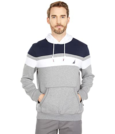 Nautica Color-Block Fleece Hoodie (Stone Grey Heather) Men