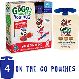 GoGo squeeZ YogurtZ, Strawberry, 3.2 Ounce (4 Pouches), Low Fat Yogurt, Gluten Free, Healthy Snacks, Reusable, BPA Free Pouches